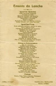 Figura 1 - Menu da Pastelaria Marques (12x15 cm, 1938). Colecão Biblioteca Celestino Domingues (ESHTE)