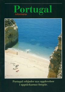 """Figura 2 - """"Portugal informa"""" – brochura em sueco, comparticipada por vários operadores nórdicos e empresas hoteleiras portuguesas (1992)."""